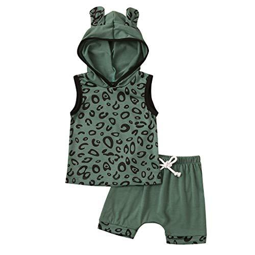 Säugling Baby Mädchen Jungen Leopard Drucken T-Shirt Mit Kapuze Tops Kurz Outfits