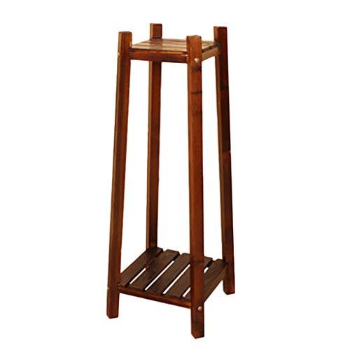 VISSJF - Supporto angolare per piante a 2 livelli, per esterni e interni, elegante, in legno, con pannello a griglia, M