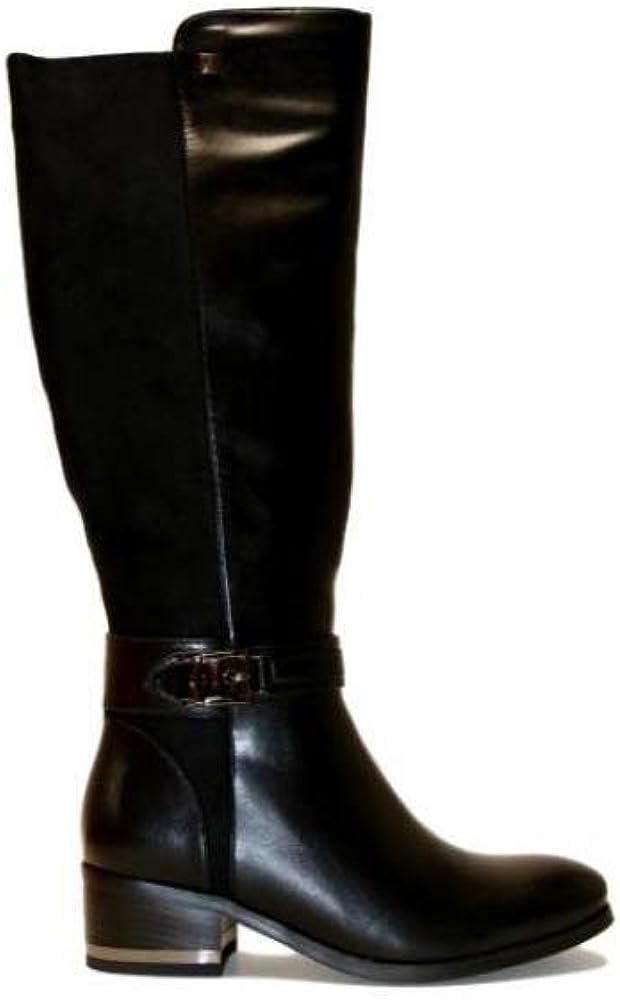 Laura biagiotti, scarpe da donna, stivali al ginocchio in pelle 5871-NERO