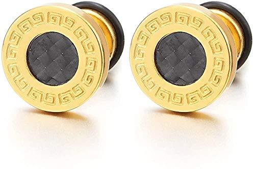 NC188 Aretes de Acero Dorado para Hombre de 10 mm con Fibra de Carbono y Tapones para los oídos Falsos conLlave Griegacalibres 2