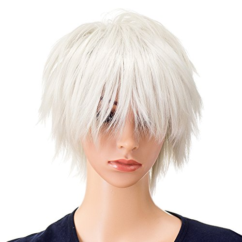 SWACC Unisex Fashion Spiky Layered Short Anime Cosplay Wig for Men and Women (White)