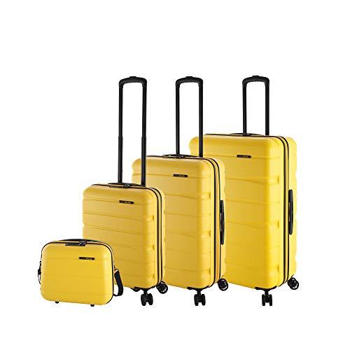 Rada Koffer Set Hartschale 4 Rollen (4-TEILIG) aus robustem ABS-Material, Reise Trolley Damen und Herren, inkl. Kosmetikkoffer, Handgepäck (gelb)