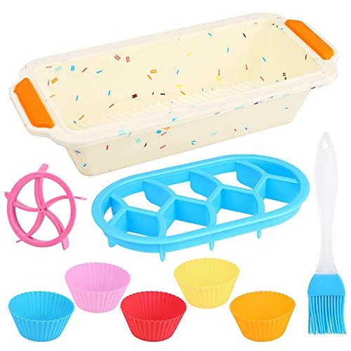 Stampo per tortiera in Silicone, Stampo Plumcake, Rettangolare Resistente alla Temperatura Stampo per Toast, Non-Stick Baking Mold per Le Torte Fatte in casa e Pane con Muffin Cup e Timbro per Pane