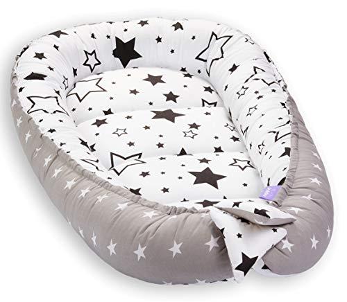 Solvera_Ltd Babynest 2seitig Kokon öko Babybett Nestchen für Neugeborene 100% Baumwolle Kuschelnest Weiches und sicheres Baby-Reisebett (50x90) (Milky Way/Schwarz)