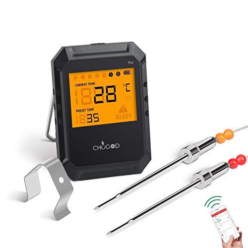 Termometro wireless per barbecue, per misurare la temperatura della carne, sistema bluetooth, compatibile on iOS e android, per grigliate, forni e BBQ