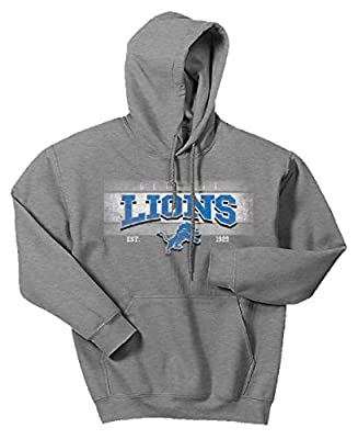 Zubaz NFL Detroit Lions Men's Banner Logo Hoodie, Medium, Gray