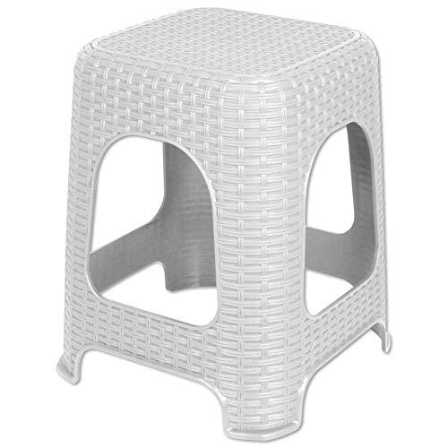 TW24 Hocker Monaco Rattan Optik Kunststoff mit Farbauswahl 150kg Badhocker Anthrazit Weiß Sitzhocker Stuhl (Weiß)