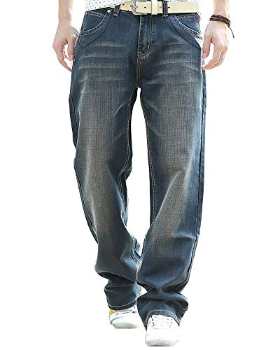 Men's Loose Straight-Leg Relaxed-Fit Jean Washed Denim Original Fit Work Dungaree Light Black 33
