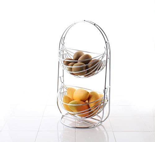 Accessoires voor thuis Chrome Swinging Fruit Hangmat, Zilver Fruitschaal Living Room Round Hollow Drain Basket, 44 * 22 * 26cm