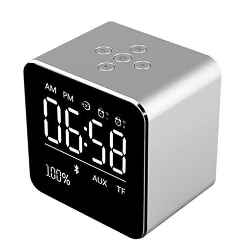 LZJZ Altavoz Bluetooth Radio Despertador LED Espejo Escritorio Caja de Metal Dormitorio Dormitorio en casa Habitación Doble Reloj Despertador,Silver