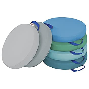 ECR4Kids SoftZone Round Floor Cushions with Handles Classroom Flexible Seating for Toddlers and Kids 2in Thick Deluxe Foam Cushion Seats  6-Piece - Contemporary
