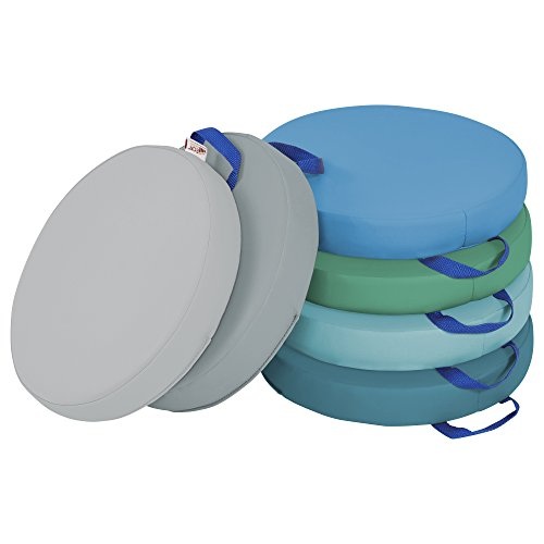 ECR4Kids SoftZone Round Floor Cushions with Handles, Classroom Flexible Seating for Toddlers and Kids, 2in Thick Deluxe Foam Cushion Seats , 6-Piece - Contemporary