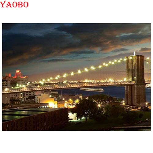 MSSZSH 5D DIY diamant schilderset nachtzicht De York Brooklyn-brug volledig rond borduurwerk kruissteek-bergkristal-decoratie 40 x 50 cm (15,5 x 19,5 inch)