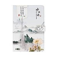 2021年1月から12月までの日記を表示するチャイニーズスタイルの日記ウィークウィークリーおよびマンスリーカバーデザインのプランナーペーパーバック2021ハードカバー日記-中華風グリーンマウンテン