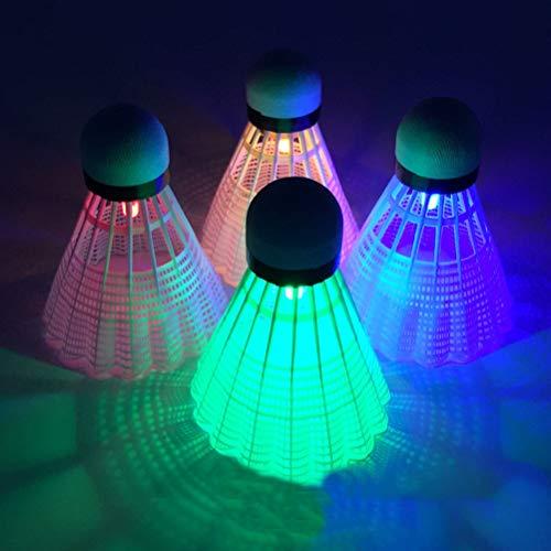 Yuciya LED Badminton, Bunte LED Leuchtende Plastik Badminton Federbälle Stabil & Langlebig Sporttraining Badminton Bälle für Indoor Outdoor Spiel (4 Stück)