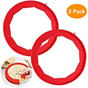 Adjustable Pie Crust Shield, McoMce 100% Food Grade Silicone Pie Weights for Baking, BPA Free & FDA Approved Pie Ring, Durable & Reusable Pie Edge Protector, 2 Pack of Pie Protector Shield (Red)