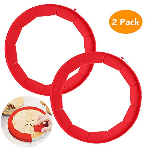 Adjustable Pie Crust Shield, McoMce Pie Weights for Baking, BPA Free Pie Ring, Durable & Reusable Pie Edge Protector, 100% Food Grade Silicone 2 Pack of Pie Protector Shield (Red)