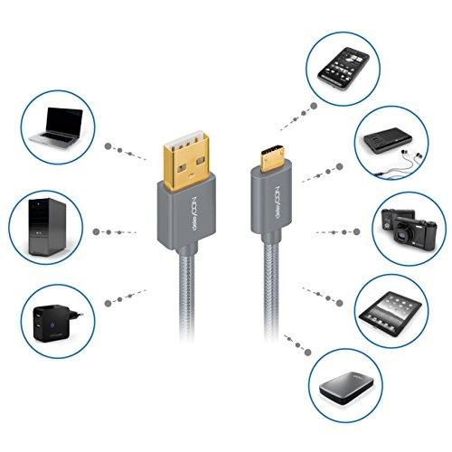 deleyCON Micro USB Kabel 0,15m Nylon + Metallstecker - Ladekabel Datenkabel Schnellladekabel - Smartphone Tablet PC Laptop Notebook - Grau