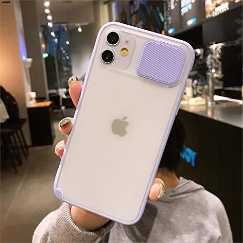 OcaseQ Funda para iPhone 11 Pro MAX Protección de La Cámara Caso con Cubierta Deslizante para Cámara Suave TPU Anti Choque Bumper Anti Arañazos Mate Transparente PC Back Cover,Púrpura,11