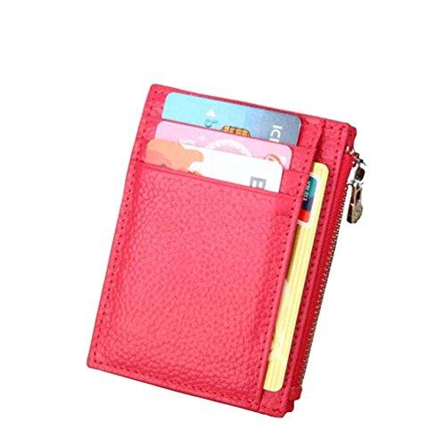 AprinCtempsD Protezione RFID Porta carte di credito Slim in Vera Pelle Portafoglio Piccolo Portamonete Mini con Cerniera per Donna Uomo (Rosa)