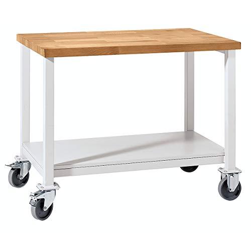 Werkbank kompakt, Buchemassivplatte - Breite 1140 mm, mit Ablageboden - fahrbar - Arbeitsplatz Arbeitstisch Montagetisch Werkbank Werktisch