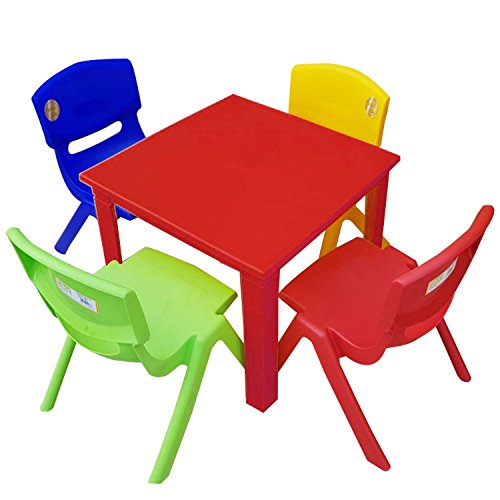 Strong Kids Children Table and Chairs Set for Study, Activity Garden Indoor (Red Table + 4 Chairs Mix)
