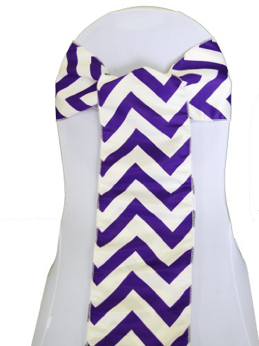 LA Linen Chevron Print on Dull Satin Chair Sash, 1-Inch Wide Strip/8 by 108-Inch, Purple