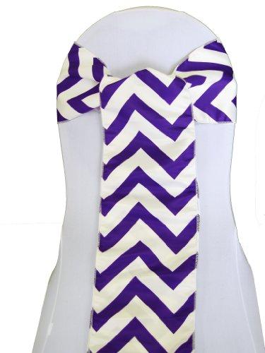 LA Linen Chevron Print on Dull Satin Chair Sash, 1-Inch Wide Strip/8 by 108-Inch, Purple