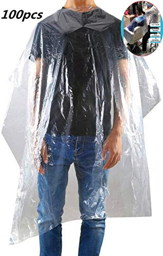 100 piezas delantal transparente desechable impermeable capa del pelo paño de peluquería corte de pelo mantón paño salón barbero bata herramientas impermeable