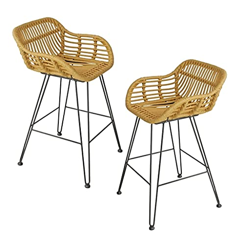 Bar Stool with Footrest & Back High Bar Stool with Black Metal Base, Home Rattan Wicker Barstools Chair, for Kitchen Pub Café Counter Back Rattan Dining Chair ( Color : 2pcs , Size : Heigh 75cm )