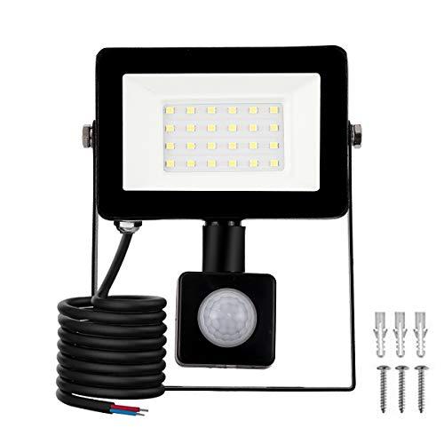LED Foco Exterior con Sensor Movimiento, Proyector Led Impermeable IP65 Floodlight Led Foco Blanco Frío 6500K Exterior Iluminación para Patio, Almacén, Camino, Jardín (20W, 1Pack)