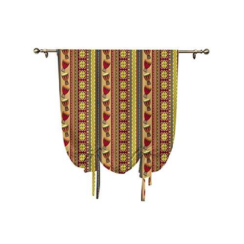 Paneles étnicos de amarre con patrón tribal africano con figuras folclóricas abstractas e iconos de tambor de diseño tradicional para ventana, 45 x 63 pulgadas, cortinas opacas multicolor