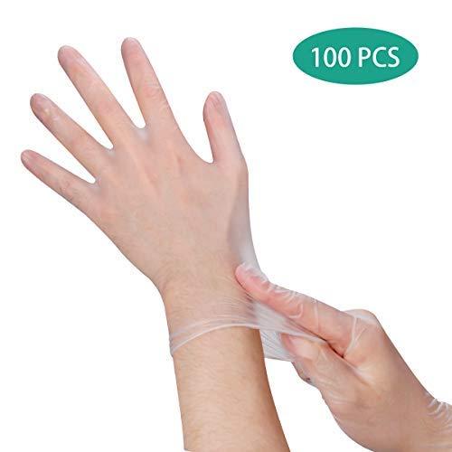 Material Seguro: Hecho de material de PVC de alta densidad, 100% sin polvo / sin látex de poliuretano. Puede usar los guantes en casa, en la oficina para evitar un contacto más directo al salir, especialmente actividades al aire libre,Cómodo & Antideslizante: Diseñados con una superficie flexible, suave, ligera y delgada, los guantes de PVC desechables tienen una buena sensibilidad táctil. Es antideslizante y le ofrece un mejor agarre,Alta Calidad & Durabilidad: Estos presentan una buena dureza y una tensión extra para adaptarse bien a la mano. Resistente a la rotura y no fácil de romper, puede aislar eficazmente el polvo y los olores,Cantidad &Talla: 100 piezas (50 pares) / caja, fácil de poner o quitar. Talla mediana. Talla única para adultos / unisex, izquierda y derecha. (Ancho de la palma: 8 - 9 cm),Amplias Aplicaciones: Estos guantes protectores sin polvo son ideales para cocinar, limpiar utensilios y manipular alimentos, limpiar mascotas. Además, se puede utilizar en salones, cirugías de belleza y hospitales, barbacoa