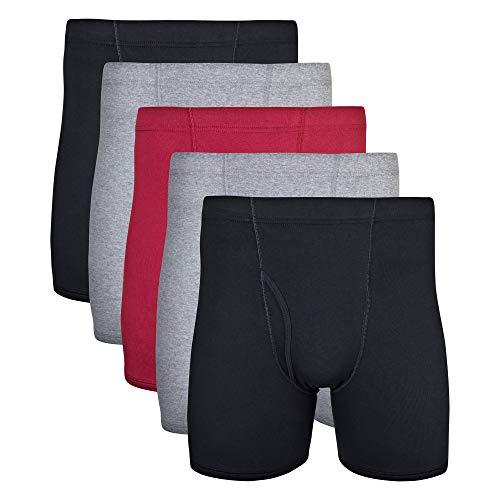 Gildan Men's Covered Waistband Boxer Briefs, Multipack, Mixed Garnet (5-Pack), Medium