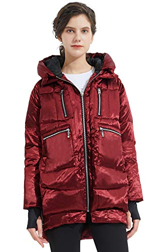 Orolay Women#039s Thickened Down Jacket Hooded Wine 2XL