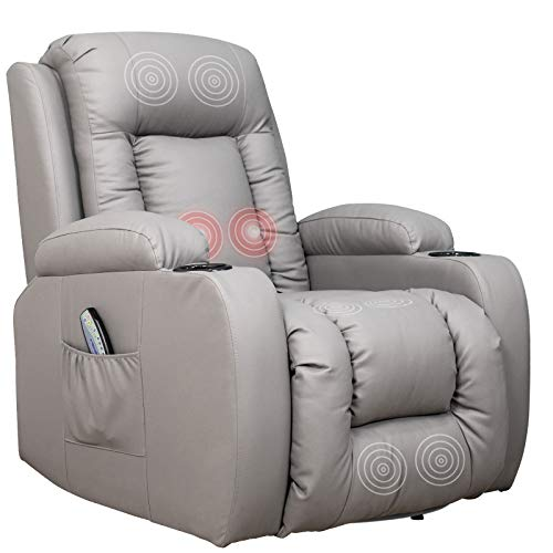 Mecor Massage Recliner Chair PU Leather Rocker with Heat 360 Degree Swivel Single Sofa Seat Ergonomic Lounge with Cup Holders/Side Pockets/Remote Control for Living Room (Grey)