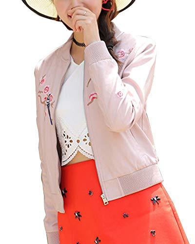 ShiFan Lederjacke Damen Kurz Freizeitjacke Lederimitat Jacke Bikerjacke Baseballjacke Mit Blumenstickerei Pink XL