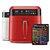 KOOC XL Large Air Fryer, 6.5 Quart Electric Air Fryer Oven, Free Cheat Sheet for Quick Reference, 1700W, LED Touch Digital Screen, 10 in 1, Customized Temp/Time, Nonstick Basket, Red