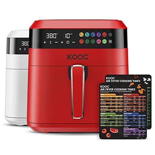 KOOC XL Freidora de aire grande, horno de freidora de aire eléctrico de 6.5 cuartos de galón, hoja de trucos gratis para guía de referencia rápida, 1700 W, pantalla digital táctil LED, 10 en 1, temperatura personalizada, cesta antiadherente, rojo