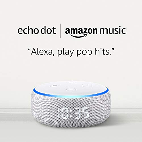 Echo Dot (3rd Gen) with clock – Sandstone and 4 months of Amazon Music Unlimited FREE  w/ autorenewal