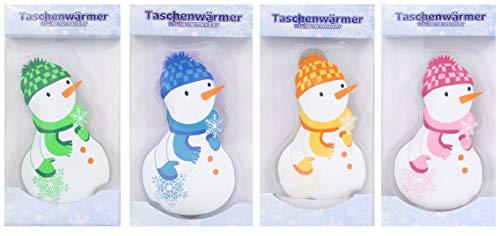 4 Stück Taschenwärmer Handwärmer in Verschiedenen Motiven im Design Pinguin, Wintermotive, Lebkuchenmännchen, Wärmflaschen, Einhörner, Schneemänner, Igel, Herzen, Weihanchtsmotive (Schneemänner)
