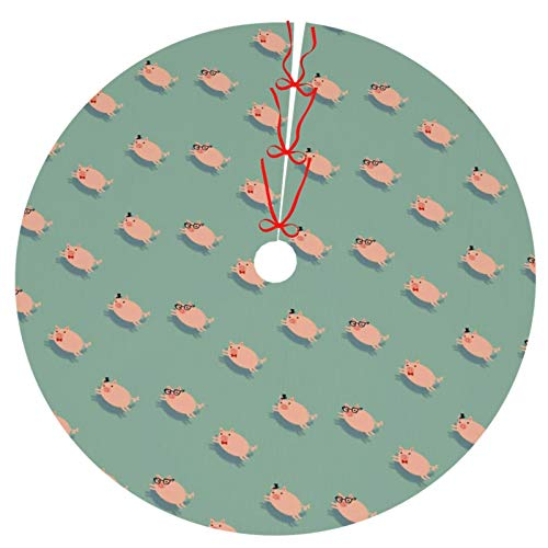 Thick 36' Funny Pigs Christmas Tree Skirt, Festival Gift Party Home Decoraton Xman Tree Mat