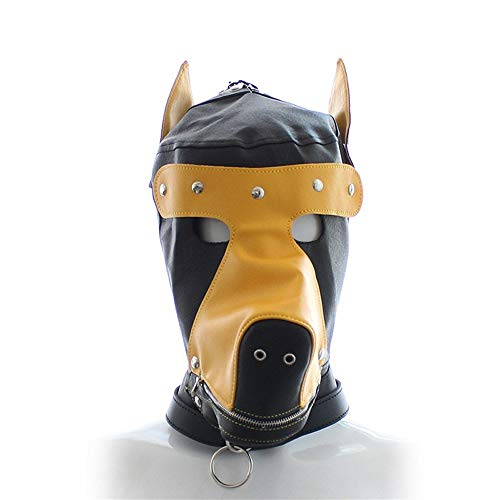 Decorstuk for Couple Fun Rabarber Dog Mask Hood stage performance Sex Toys ZHQHYQHHX (Size : Yellow)