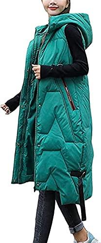 SKYWPOJU Damska kamizelka puchowa długa zimowa kamizelka kamizelka z kapturem płaszcz bez rękawów ciepły puchowy płaszcz z kieszeniami lekka długa,wąska kamizelka kurtka zamek jednolity kolor na zewną