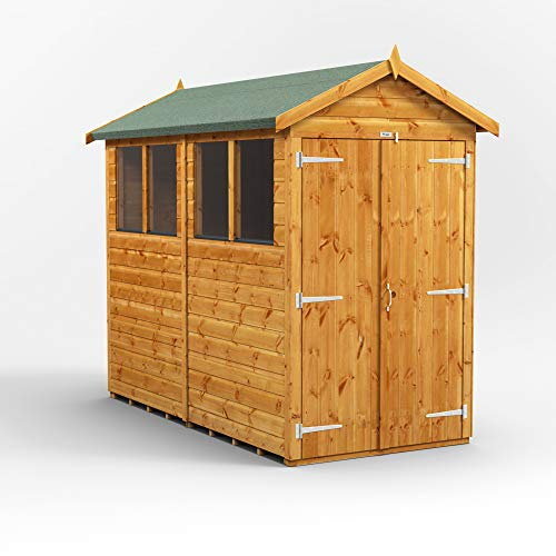 POWER | 8x4 Apex Double Door Wooden Garden Shed | Shiplap Sheds | Super Fast Delivery | Size 8 x 4