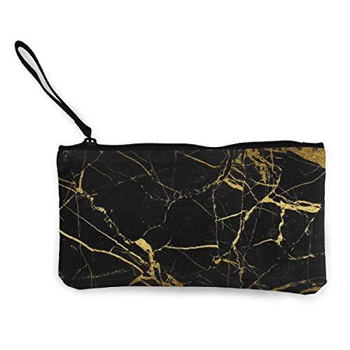 Schwarz und Gold Marmorfliesen Männer und Frauen Nette Mode Persönlichkeit Leinwand Münzgeldbörse mit Reißverschluss Schminktasche mit Handgelenkriemen Cash Callphone Tasche 8,5 x 4,5 Zoll