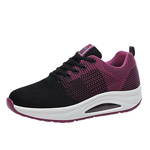 ARbuliry Chaussures de Course pour Femmes, Baskets intérieures Souples à Lacets, Baskets pour Femmes avec Coussin d'air, déodorant Respirant Maille Respirante Plat