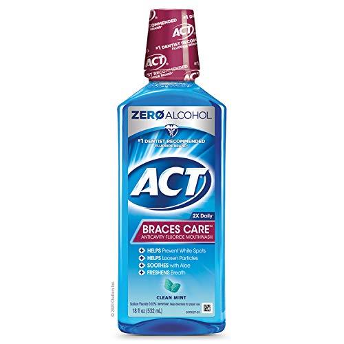 ACT Braces Care Anti-Cavity Fluoride Mouthwash, Clean Mint, 18 Ounce