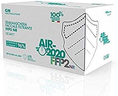 Health Solutions AIR-2020 - Máscaras certificadas FFP2 - Sistema nasal antivaho - Máscara antivaho Made in Italy - Empaquetado individualmente - 20 piezas