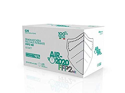 20 Pezzi - AIR-2020 - Mascherine FFP2 Certificate - Sistema Nasale Antiappannamento - Made in Italy - Confezionate singolarmente